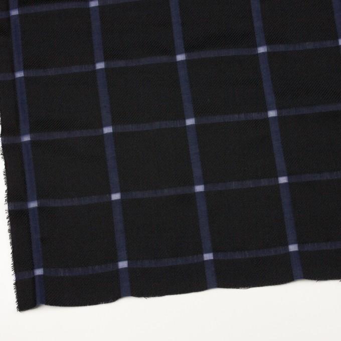 ウール&コットン×チェック(ブラック&グレープ)×かわり織 イメージ2