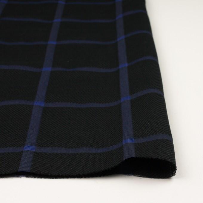 ウール&コットン×チェック(ブラック&グレープ)×かわり織 イメージ3