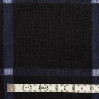 ウール&コットン×チェック(ブラック&グレープ)×かわり織 サムネイル4