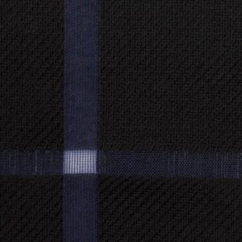 ウール&コットン×チェック(ブラック&グレープ)×かわり織 サムネイル1