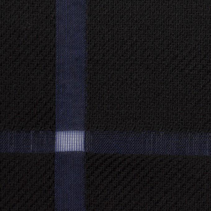 ウール&コットン×チェック(ブラック&グレープ)×かわり織 イメージ1
