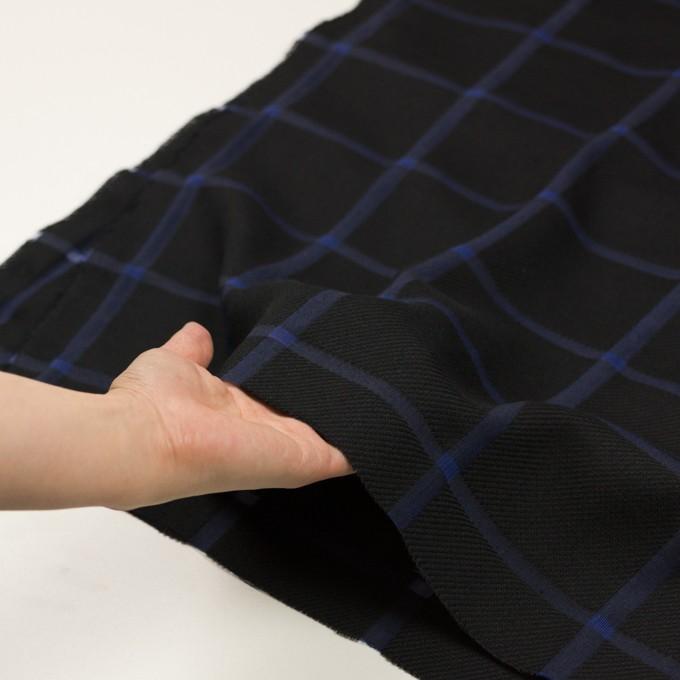 ウール&コットン×チェック(ブラック&グレープ)×かわり織 イメージ5