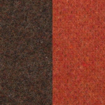 ウール&ポリエステル混×無地(カーキブラウン&トマト)×Wツイード_全4色