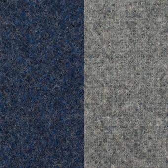 ウール&ポリエステル混×無地(ミッドナイトブルー&グレー)×Wツイード_全4色