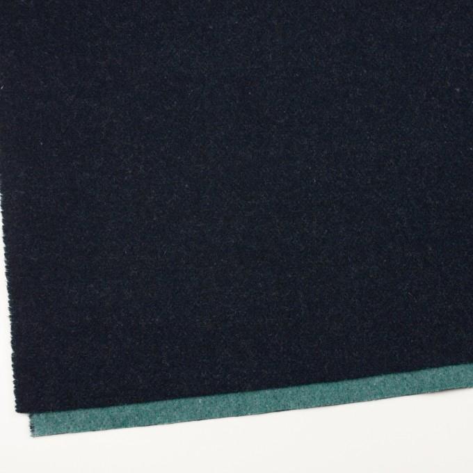 ウール&ポリエステル混×無地(ネイビー&エメラルドグリーン)×Wツイード_全4色 イメージ2
