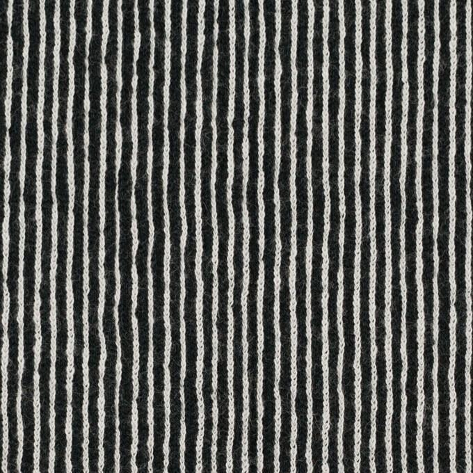 コットン×ストライプ(ブラック)×かわり編み イメージ1