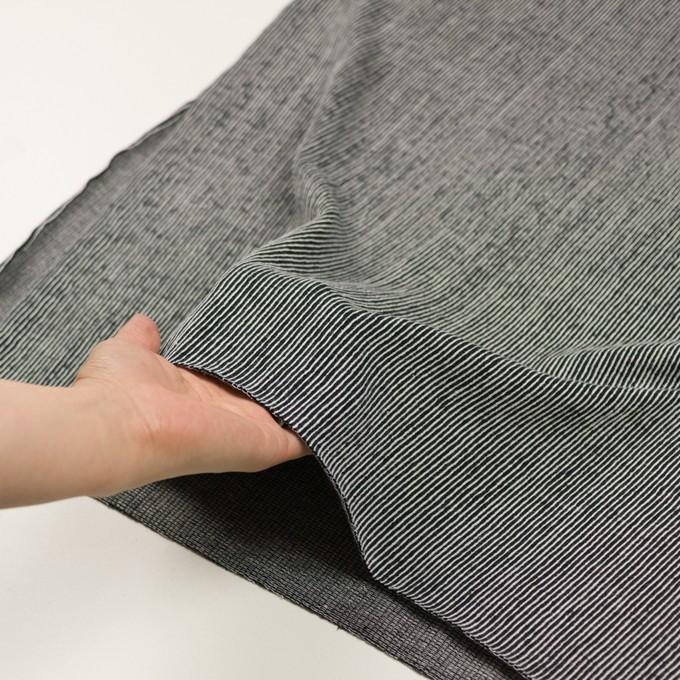 コットン×ストライプ(ブラック)×かわり編み イメージ5