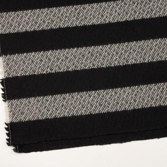 ウール&ナイロン×ボーダー(ブラック)×カルゼ_イタリア製 サムネイル2
