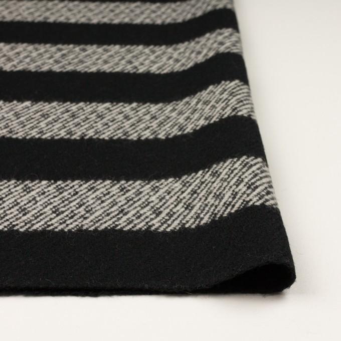 ウール&ナイロン×ボーダー(ブラック)×カルゼ_イタリア製 イメージ3