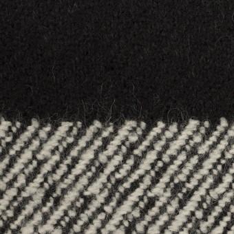 ウール&ナイロン×ボーダー(ブラック)×カルゼ_イタリア製 サムネイル1