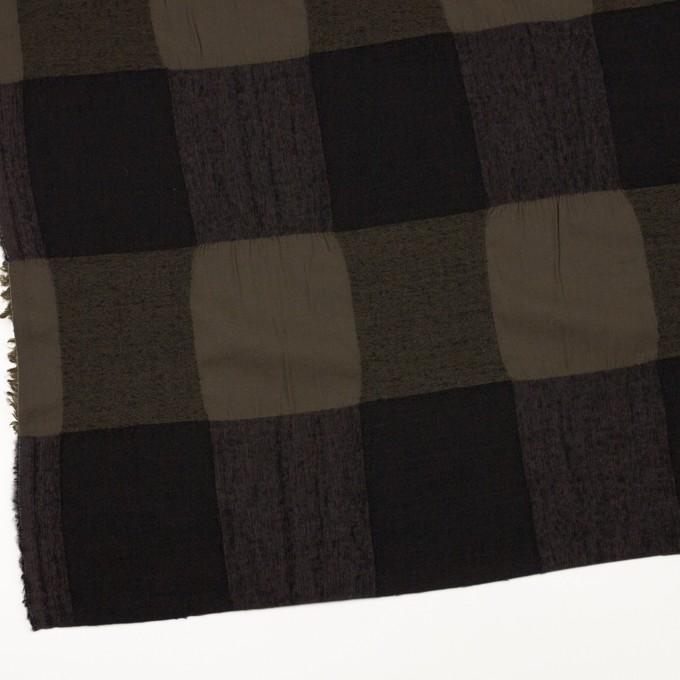 ウール&コットン×チェック(カーキブラウン&ブラック)×ボイル イメージ2