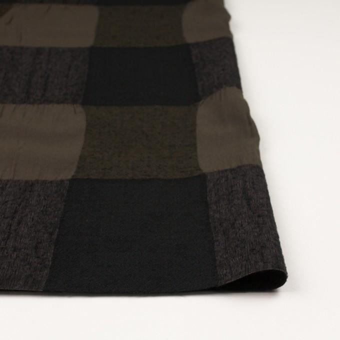 ウール&コットン×チェック(カーキブラウン&ブラック)×ボイル イメージ3
