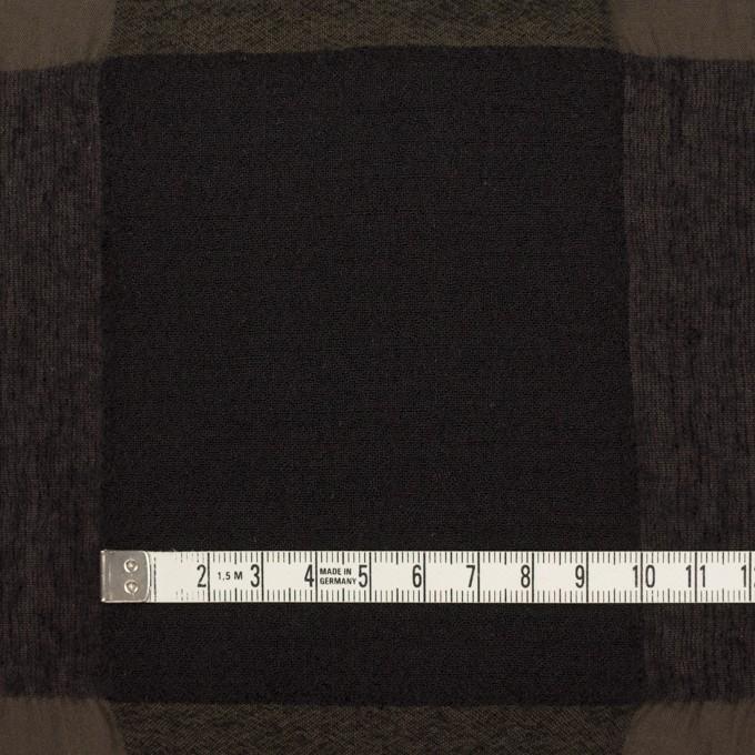 ウール&コットン×チェック(カーキブラウン&ブラック)×ボイル イメージ4