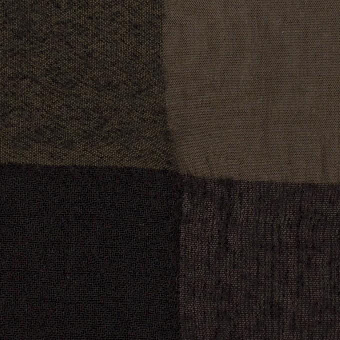 ウール&コットン×チェック(カーキブラウン&ブラック)×ボイル イメージ1
