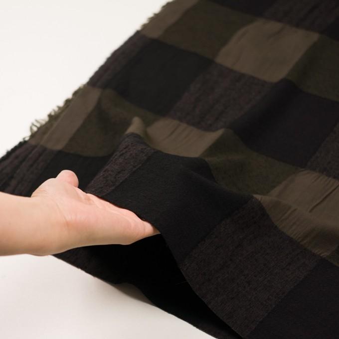 ウール&コットン×チェック(カーキブラウン&ブラック)×ボイル イメージ5