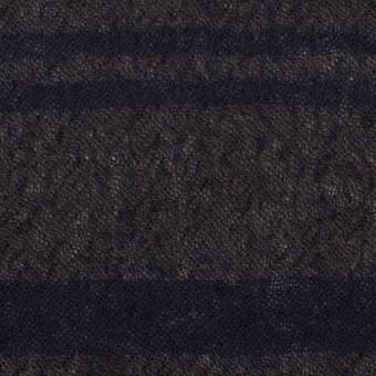 ウール×ボーダー(カーキブラウン&ネイビー)×ガーゼ