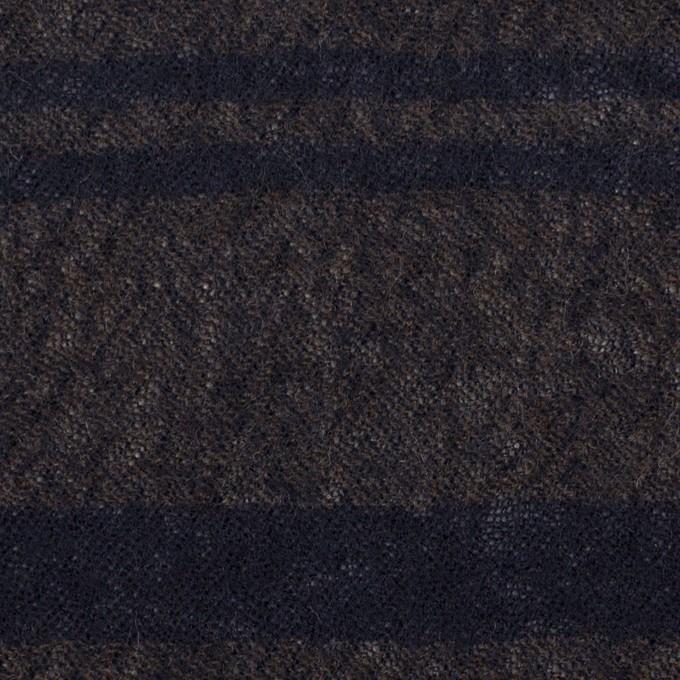 ウール×ボーダー(カーキブラウン&ネイビー)×ガーゼ イメージ1