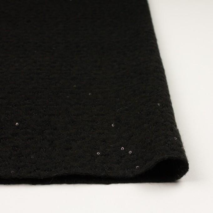 ウール&アクリル混×無地(ブラック)×メッシュニット&スパン付きチュールレース イメージ3
