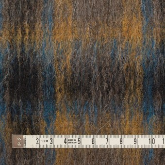 ウール&アクリル混×チェック(オーカー&ターコイズブルー)×シャギー サムネイル4