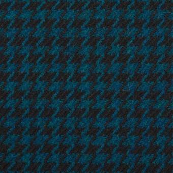 ウール×チェック(ターコイズ&ブラック)×千鳥格子