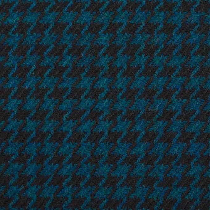 ウール×チェック(ターコイズ&ブラック)×千鳥格子 イメージ1