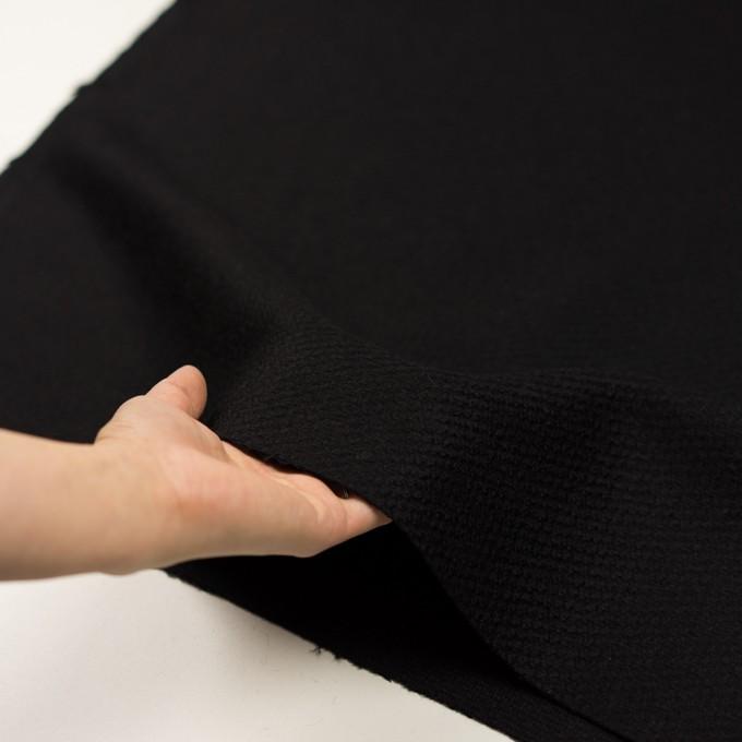 ウール&アクリル混×無地(ブラック)×かわり織 イメージ5