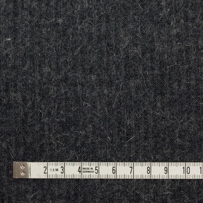ウール&アルパカ混×無地(チャコールグレー)×リブニット イメージ4