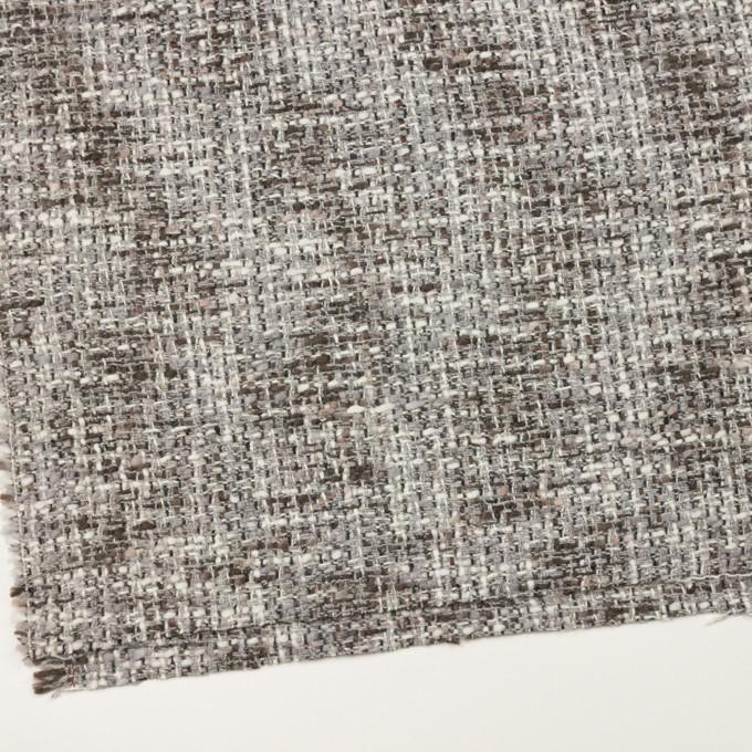 ウール&アクリル混×ミックス(グレー&ブラウン)×ファンシーツイード_イタリア製 イメージ2