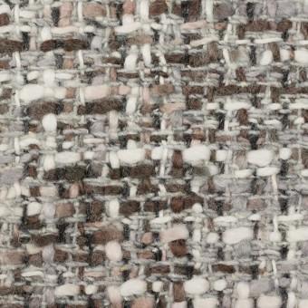 ウール&アクリル混×ミックス(グレー&ブラウン)×ファンシーツイード_イタリア製
