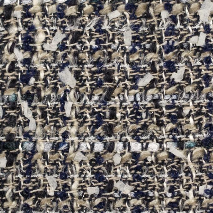 ポリエステル&ウール混×ミックス(カーキベージュ&ダークネイビー)×ファンシーツイード イメージ1