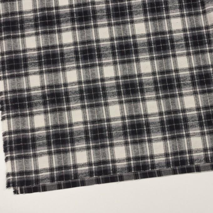 コットン×チェック(アイボリー&チャコールブラック)×フランネル イメージ2