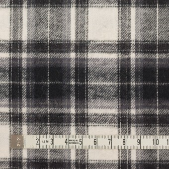 コットン×チェック(アイボリー&チャコールブラック)×フランネル サムネイル4