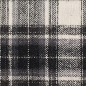 コットン×チェック(アイボリー&チャコールブラック)×フランネル