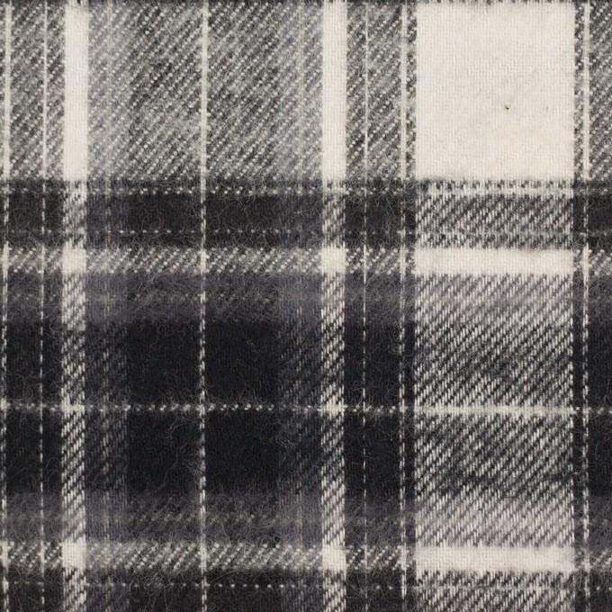 コットン×チェック(アイボリー&チャコールブラック)×フランネル イメージ1