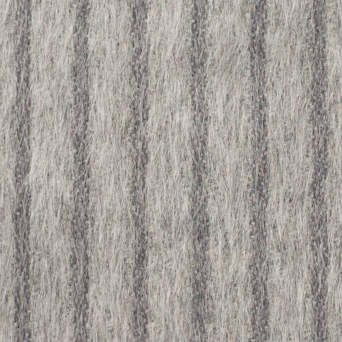 ウール×ストライプ(シルバーグレー)×シャギー イメージ1