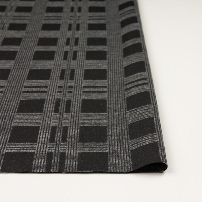 ウール&ポリエステル×チェック(チャコールブラック)×ジャガード イメージ3