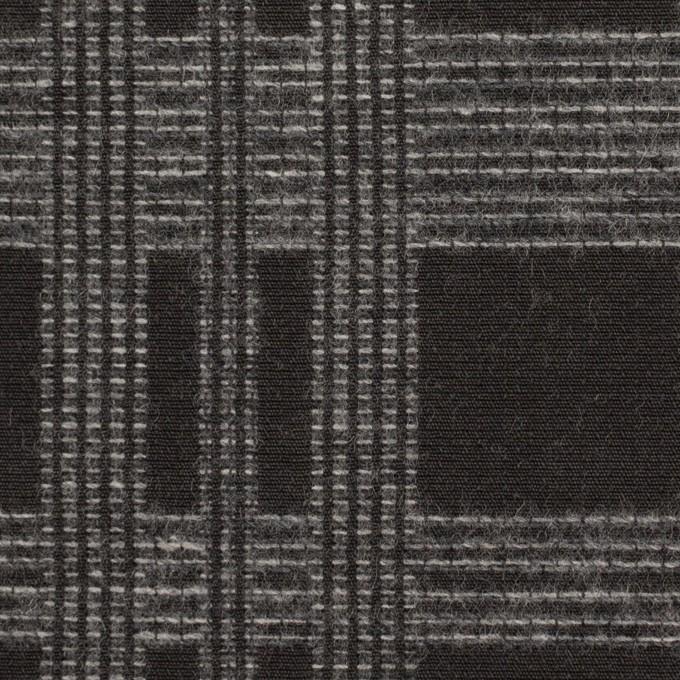 ウール&ポリエステル×チェック(チャコールブラック)×ジャガード イメージ1