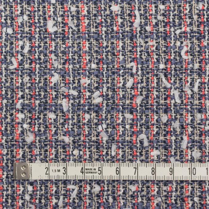 ウール&コットン混×ミックス(ヒヤシンスブルー&スカーレット)×ファンシーツイード_全2色 イメージ4