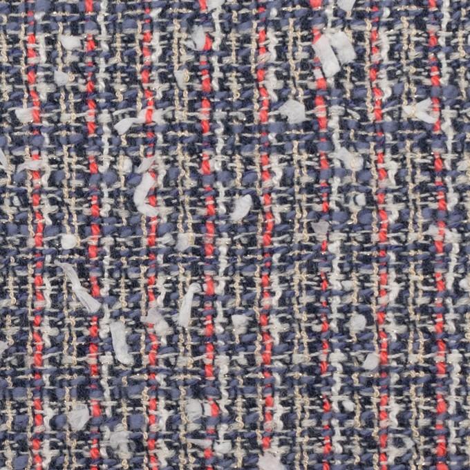 ウール&コットン混×ミックス(ヒヤシンスブルー&スカーレット)×ファンシーツイード_全2色 イメージ1