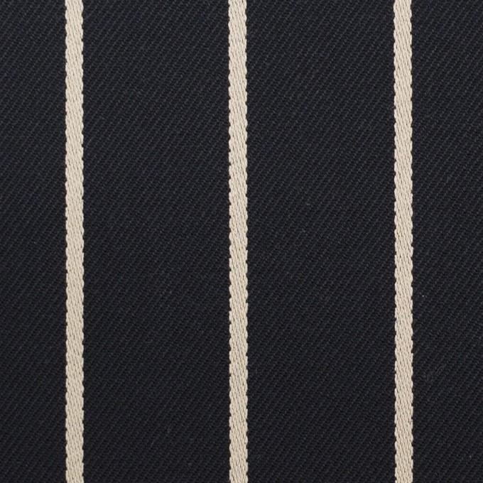 コットン×ストライプ(ダークネイビー&キナリ)×ドビー イメージ1