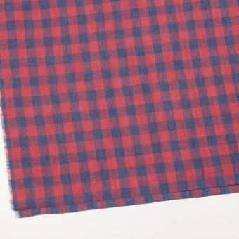 リネン×チェック(レッド&ネイビー)×薄キャンバス_イタリア製 サムネイル2