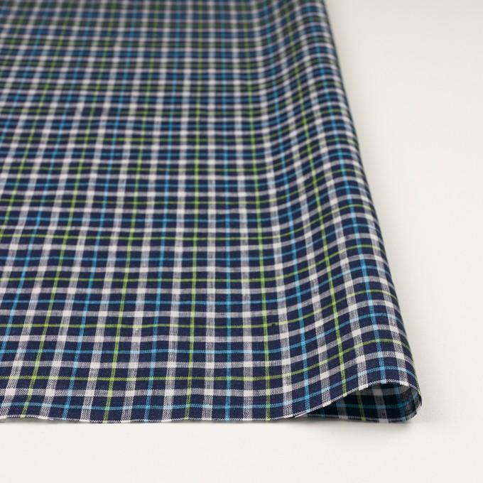 リネン×チェック(ネイビー、サックス&イエローグリーン)×薄キャンバス_イタリア製 イメージ3