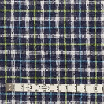 リネン×チェック(ネイビー、サックス&イエローグリーン)×薄キャンバス_イタリア製 サムネイル4