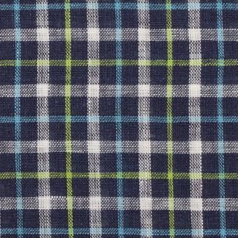 リネン×チェック(ネイビー、サックス&イエローグリーン)×薄キャンバス_イタリア製 サムネイル1