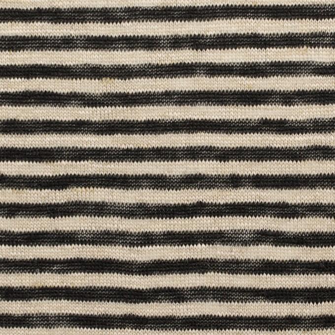リネン×ボーダー(グレイッシュベージュ&ブラック)×天竺ニット_全2色 イメージ1