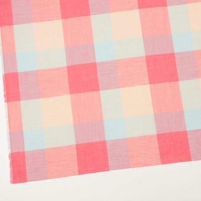 コットン&リネン混×チェック(サーモンピンク&シトロン)×ボイル_全2色 イメージ2