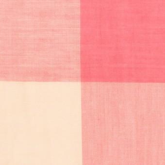 コットン&リネン混×チェック(サーモンピンク&シトロン)×ボイル_全2色