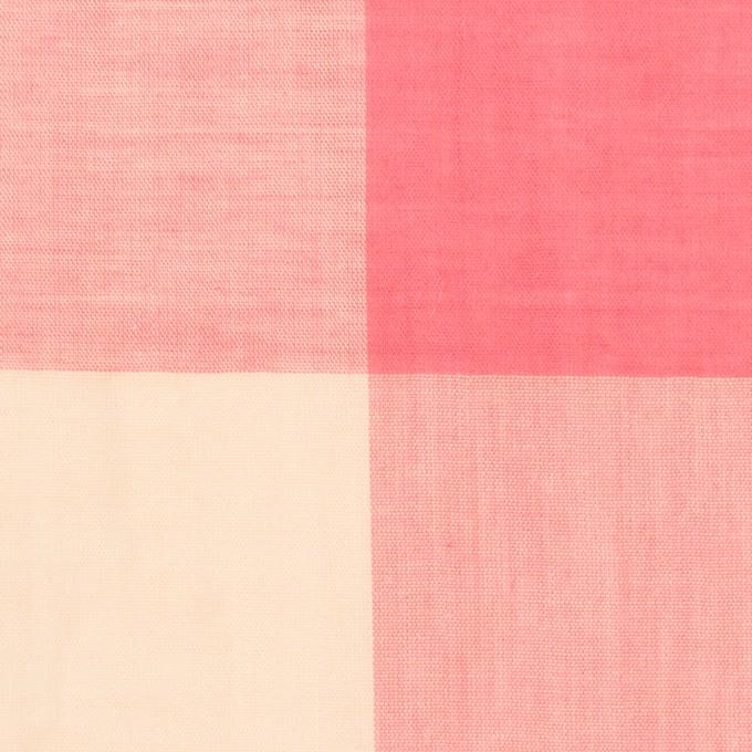 コットン&リネン混×チェック(サーモンピンク&シトロン)×ボイル_全2色 イメージ1