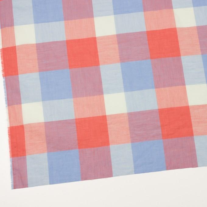 コットン&リネン混×チェック(スカーレット&サックス)×ボイル_全2色 イメージ2