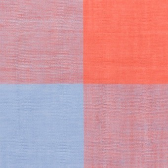 コットン&リネン混×チェック(スカーレット&サックス)×ボイル_全2色